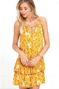 image Flower of Love Golden Yellow Floral Print Dress