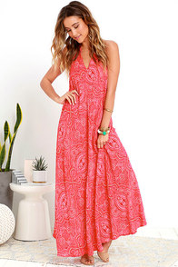 image Glamorous Kiss It Better Red Print Halter Maxi Dress