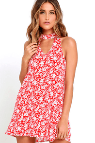 Lean Close Ivory and Red Floral Print Swing Dress