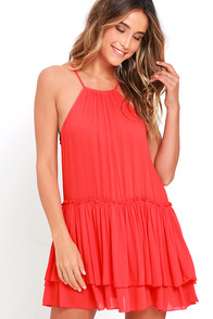 image Feel the Beat Coral Red Swing Dress