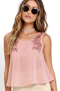 Glamorous Lip-Locked Dusty Peach Embroidered Top