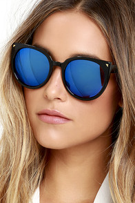 image Weekly Wind Down Black and Blue Mirrored Sunglasses