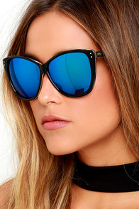 image Style and Slang Black and Blue Mirrored Sunglasses
