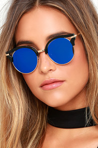 image Next Move Black and Blue Mirrored Sunglasses