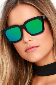 image Party On Black and Green Mirrored Sunglasses