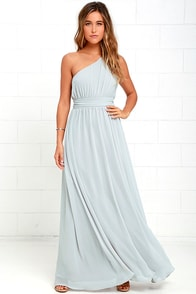Looking Glass Grey One-Shoulder Maxi Dress