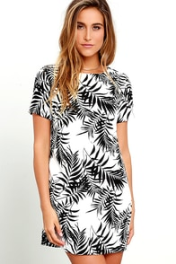 image Lucy Love Charlotte Black and White Tropical Print Shift Dress