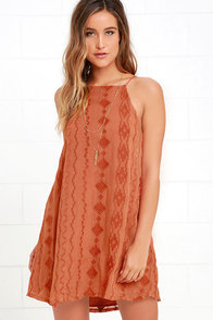 image Pimenta Terra Cotta Embroidered Swing Dress
