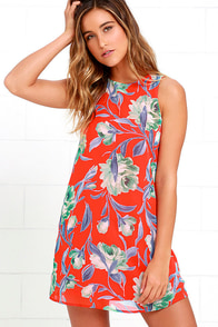 Bloom and Board Red Floral Print Dress