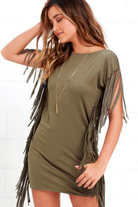 Rhyme and Reason Olive Green Backless Fringe Dress