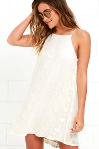 Pimenta Cream Embroidered Swing Dress at Lulus.com!