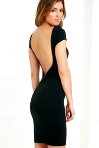Daring Dame Black Backless Bodycon Dress