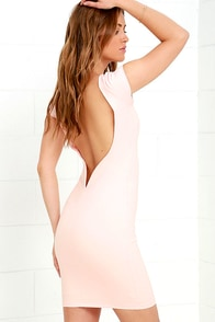 Daring Dame Blush Pink Backless Bodycon Dress
