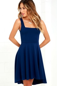 Course of Action Navy Blue High-Low Dress at Lulus.com!