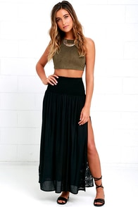 Amuse Society Jameson Black Embroidered Maxi Skirt