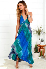 One With Nature Blue Tie-Dye Maxi Dress