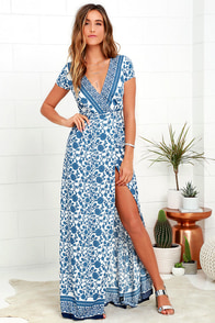 French Doors Ivory and Blue Floral Print Wrap Maxi Dress