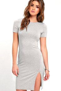 image Flatter Me Heather Grey Bodycon Dress