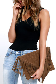 Hot Second Tan Suede Fringe Clutch
