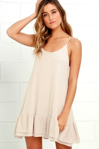 Twirl Time Beige Shift Dress
