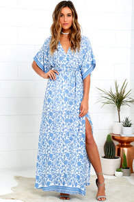 image Wherefore Art Thou Blue Floral Print Maxi Dress