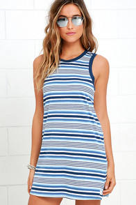 image Rhythm The Strokes Blue Multi Striped Dress