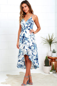 Wrapped in Whimsy Blue and Ivory Floral Print High-Low Dress $49.00 AT vintagedancer.com