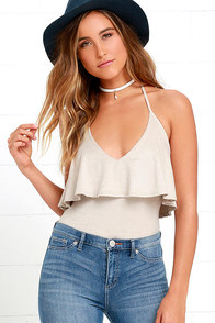 Steal Some Sun Beige Suede Bodysuit at Lulus.com!