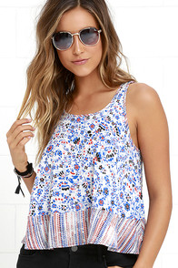 Fleur Sure Red and Blue Floral Print Crop Top