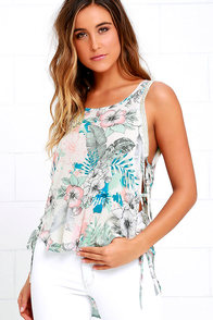 image I. Madeline Meet in Maui Cream Tropical Print High-Low Top