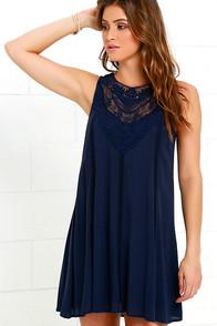 Black Swan Evelina Navy Blue Lace Dress