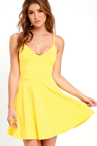 image Meet Cute Yellow Skater Dress