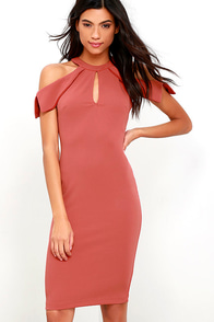 image Mixologist Rust Red Bodycon Midi Dress