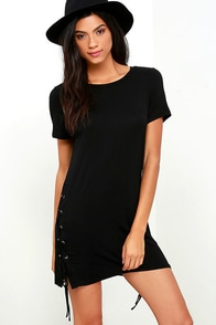 Chic Your Fortune Black Lace-Up Shift Dress