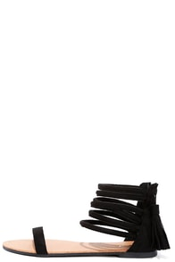 image Weekend Pass Black Suede Flat Ankle Strap Sandals