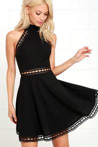 image Ease in Manner Black Lace Skater Dress