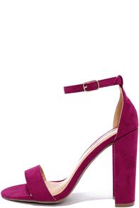 image Social Scene Berry Purple Suede Ankle Strap Heels