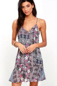image Misha Purple Multi Print Shift Dress
