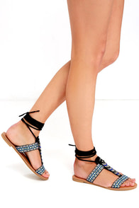 Sweet Freedom Black Beaded Lace-Up Sandals