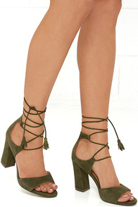 image Report Mariachi Olive Suede Leather Lace-Up Heels