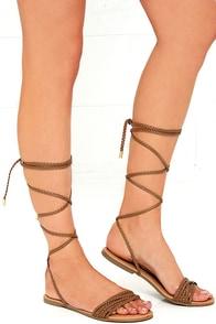 image Braid-iac Camel Flat Lace-Up Sandals