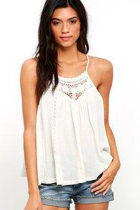 image Billabong Midsummer Tides Cream Crochet Top
