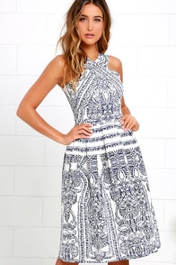 Elliatt Portion Denim Blue and Ivory Print Midi Dress