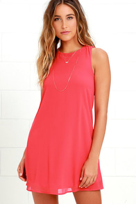 Harmonious Coral Red Shift Dress at Lulus.com!