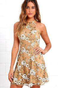 Dress the Population Abbie Beige Lace Dress at Lulus.com!
