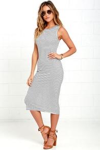 Olive & Oak Baylee Ivory and Navy Blue Striped Midi Dress