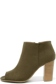 Clean Cut Khaki Suede Peep Toe Ankle Booties