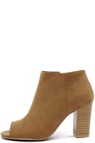 image Clean Cut Taupe Suede Peep Toe Ankle Booties