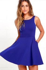 Wanderlust Royal Blue Skater Dress at Lulus.com!
