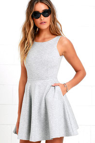 image Wanderlust Heather Grey Skater Dress
